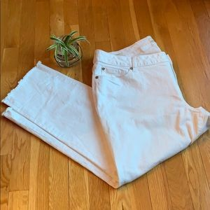 Torrid White Denim Boyfriend Size 20 Raw Hem